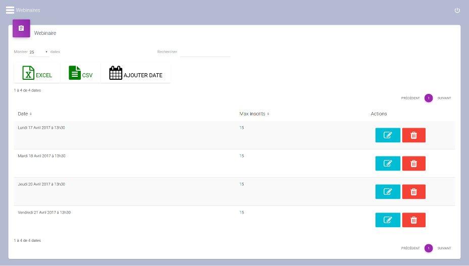 Gestion des dates de webconférence